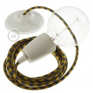 Porcelain Pendant, suspended lamp with Bicolored Golden Honey and Anthracite Cotton textile cable RP27