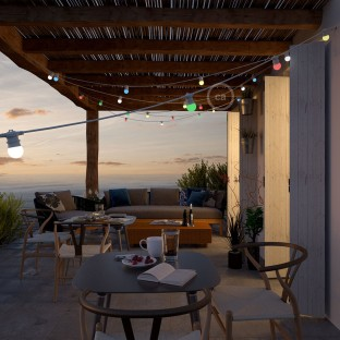 White outdoor string lighting with a 12,5m long round cable and 11 E27 lamp holders, connectable to up to 60m, with Schuko plug