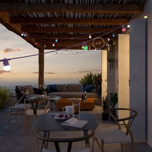 Pink outdoor string lighting with a 12,5m long round cable and 11 E27 lamp holders, connectable to up to 60m, with Schuko plug