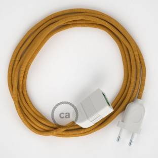 Gold Rayon fabric RM05 2P 10A Extension cable Made in Italy