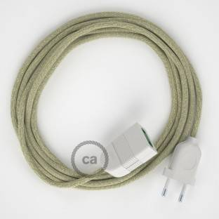 Neutral Natural Linen fabric RN01 2P 10A Extension cable Made in Italy
