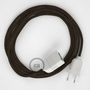 Brown Natural Linen fabric RN04 2P 10A Extension cable Made in Italy