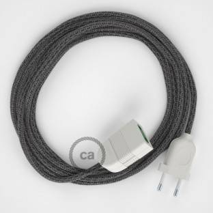 Black Cotton and Natural Linen fabric RS81 2P 10A Extension cable Made in Italy