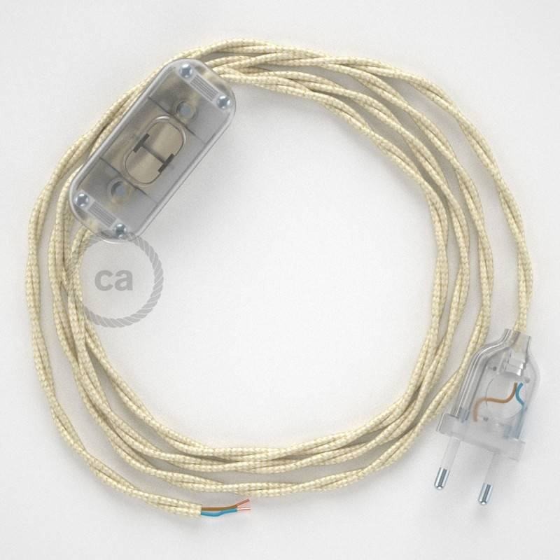 Lamp wiring, TM00 Ivory Rayon 1,80 m. Choose the colour of the switch and plug.