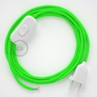 Lamp wiring, RF06 Neon Green Rayon 1,80 m. Choose the colour of the switch and plug.