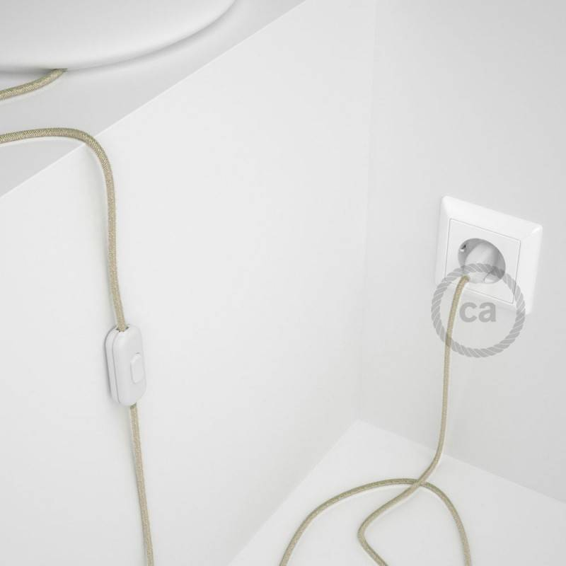 Lamp wiring, RN01 Neutral Natural Linen 1,80 m. Choose the colour of the switch and plug.