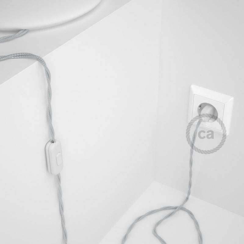 Lamp wiring, TM02 Silver Rayon 1,80 m. Choose the colour of the switch and plug.