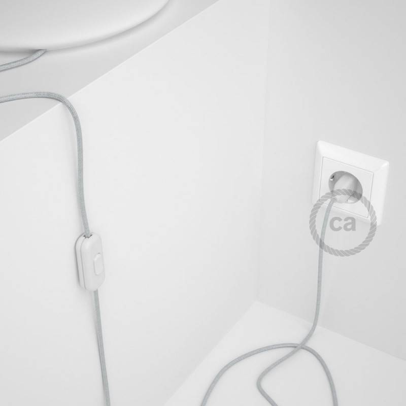 Lamp wiring, RL01 Sparkly White Rayon 1,80 m. Choose the colour of the switch and plug.