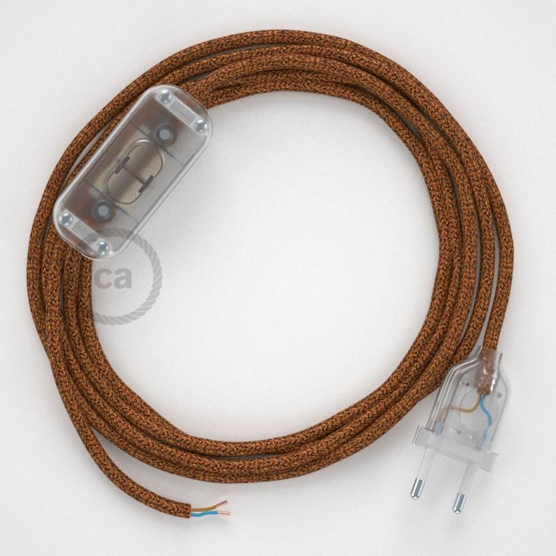 Lamp wiring, RL22 Sparkly Copper Rayon 1,80 m. Choose the colour of the switch and plug.