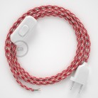 Lamp wiring, RP09 White-Red Two-Tone Rayon 1,80 m. Choose the colour of the switch and plug.