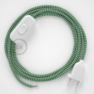 Lamp wiring, RZ06 Green ZigZag Rayon 1,80 m. Choose the colour of the switch and plug.