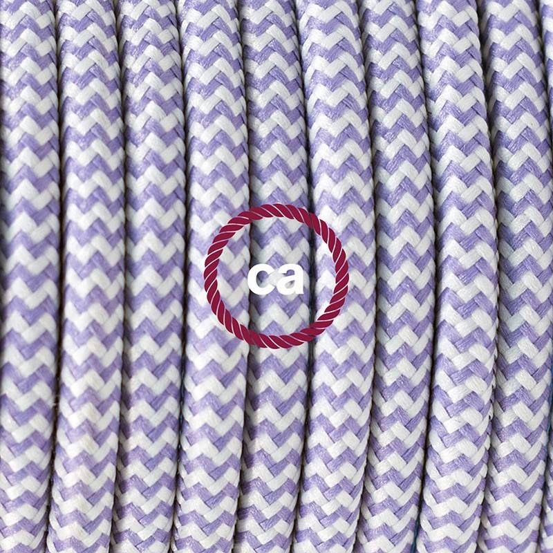 Lamp wiring, RZ07 Lilac ZigZag Rayon 1,80 m. Choose the colour of the switch and plug.