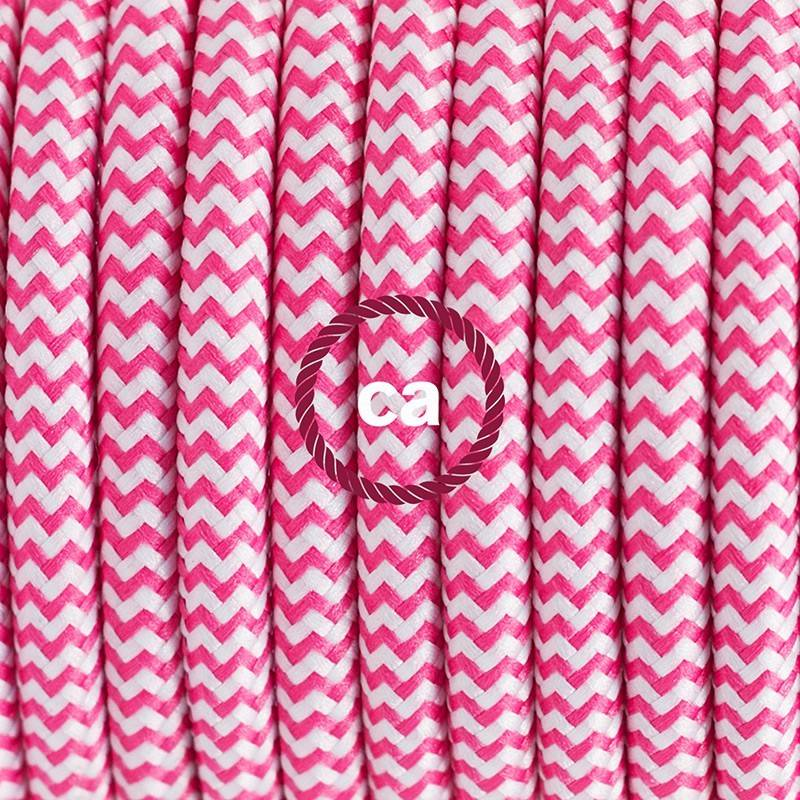 Lamp wiring, RZ08 Fuchsia ZigZag Rayon 1,80 m. Choose the colour of the switch and plug.