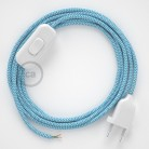 Lamp wiring, RZ11 Turquoise ZigZag Rayon 1,80 m. Choose the colour of the switch and plug.