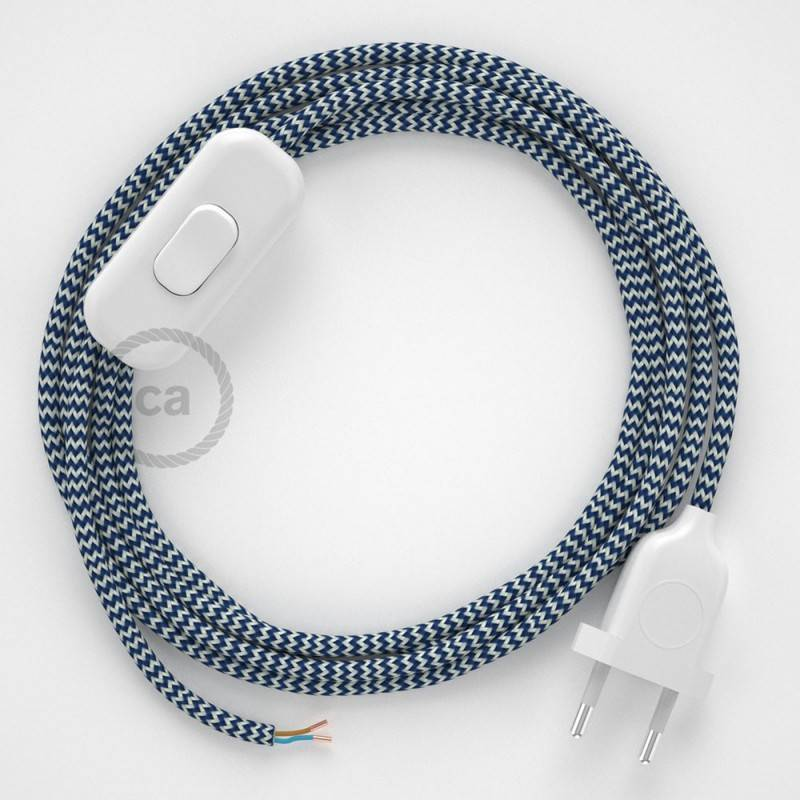 Lamp wiring, RZ12 Blue ZigZag Rayon 1,80 m. Choose the colour of the switch and plug.