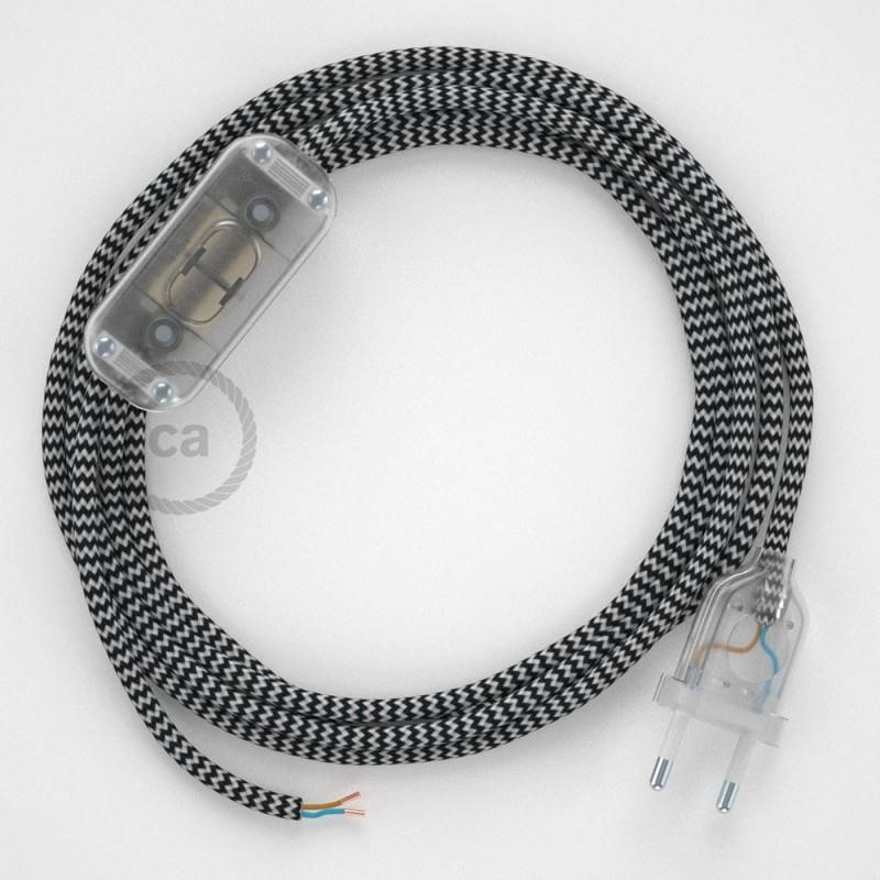 Lamp wiring, RZ04 Black ZigZag Rayon 1,80 m. Choose the colour of the switch and plug.