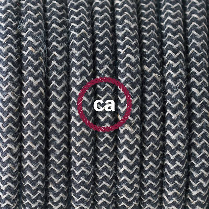 Lamp wiring, RD74 Anthracite ZigZag Cotton and Natural Linen 1,80 m. Choose the colour of the switch and plug.