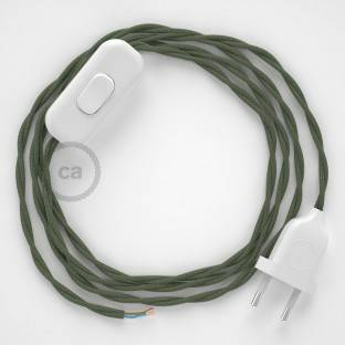 Lamp wiring, TC63 Green Grey Cotton 1,80 m. Choose the colour of the switch and plug.