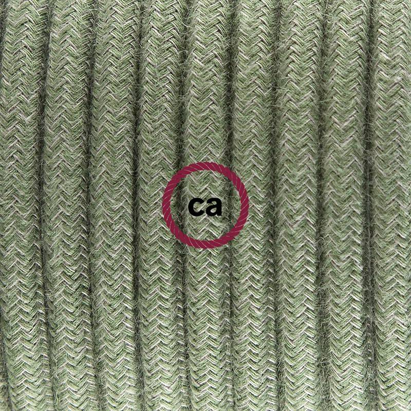 Lamp wiring, RC63 Green Grey Cotton 1,80 m. Choose the colour of the switch and plug.