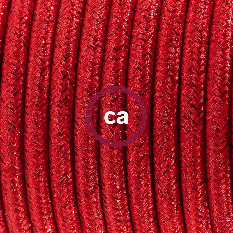 Lamp wiring, RL09 Sparkly Red Rayon 1,80 m. Choose the colour of the switch and plug.