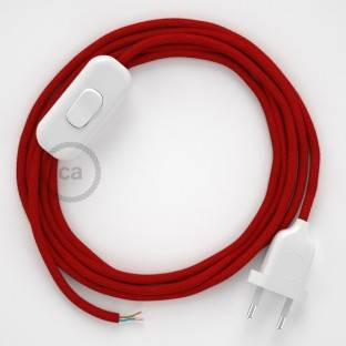 Lamp wiring, RC35 Fire Red Cotton 1,80 m. Choose the colour of the switch and plug.