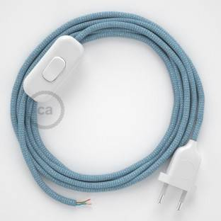 Lamp wiring, RD75 Blue Steward ZigZag Cotton and Natural Linen 1,80 m. Choose the colour of the switch and plug.
