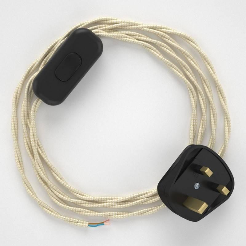 Lamp wiring, TM00 Ivory Rayon 1,80 m.
