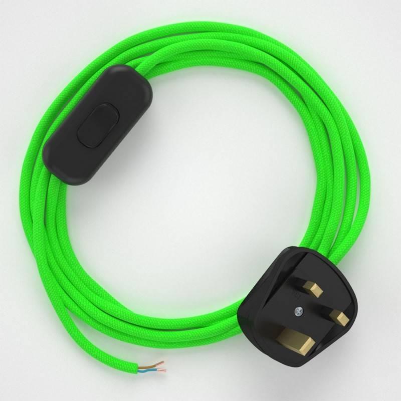 Lamp wiring, RF06 Neon Green Rayon 1,80 m.