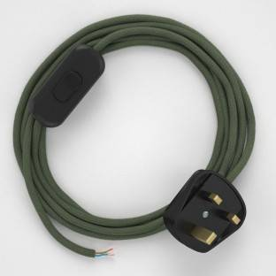 Lamp wiring, RC63 Green Grey Cotton 1,80 m.