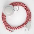 Wiring Pedestal, RP09 White-Red Two-Tone Rayon 3 m. Choose the colour of the switch and plug.
