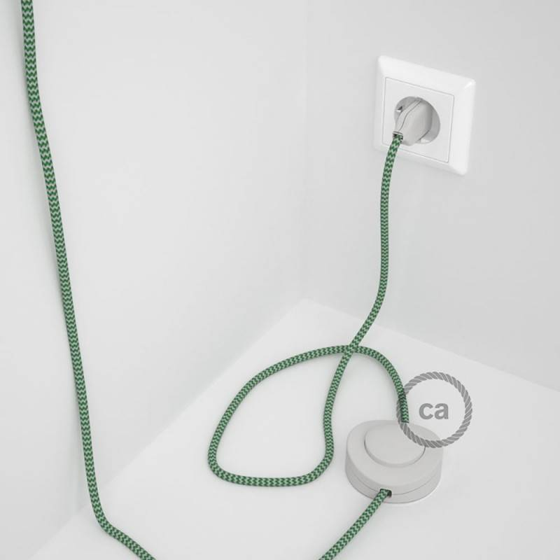 Wiring Pedestal, RZ06 Green ZigZag Rayon 3 m. Choose the colour of the switch and plug.