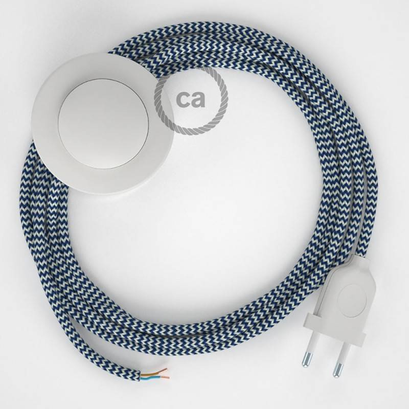 Wiring Pedestal, RZ12 Blue ZigZag Rayon 3 m. Choose the colour of the switch and plug.
