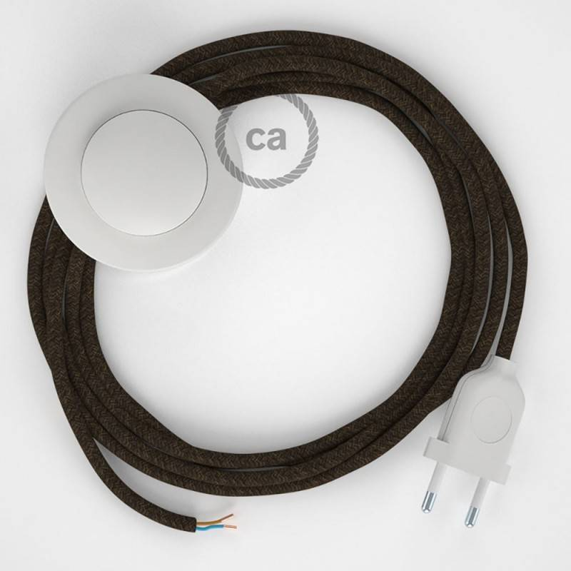 Wiring Pedestal, RN04 Brown Natural Linen 3 m. Choose the colour of the switch and plug.