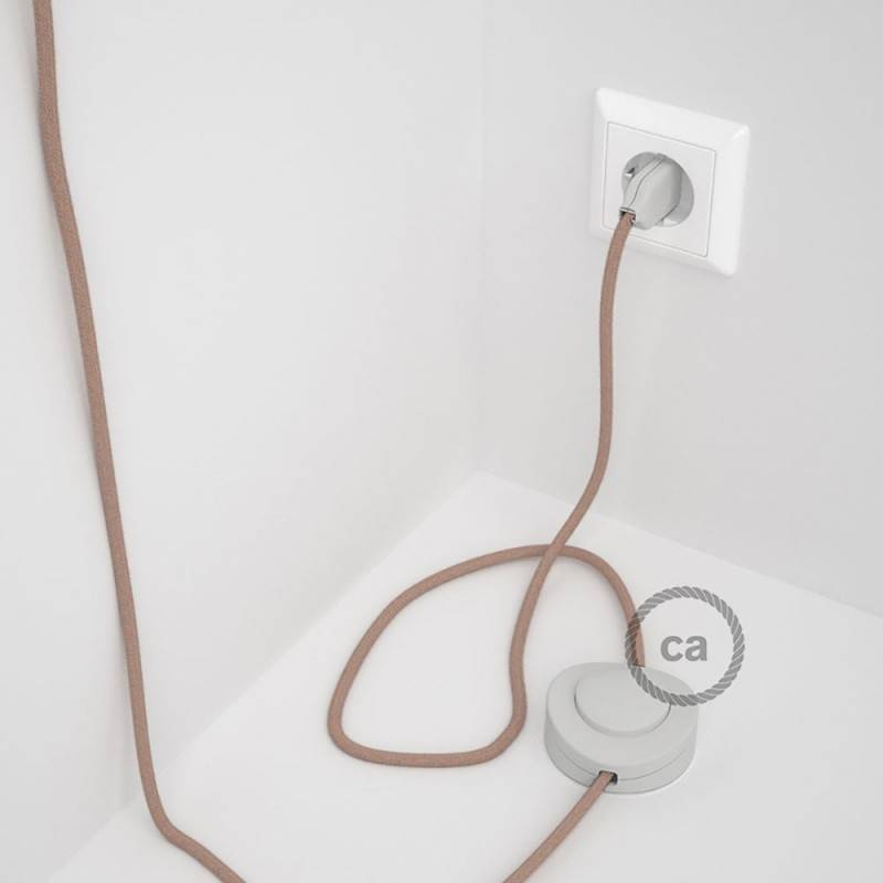 Wiring Pedestal, RD71 Ancient Pink ZigZag Cotton and Natural Linen 3 m. Choose the colour of the switch and plug.