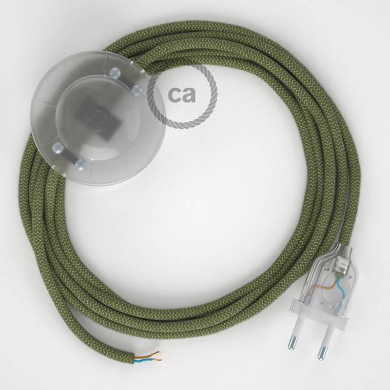 Wiring Pedestal, RD72 Thyme Green Stripes Cotton and Natural Linen 3 m. Choose the colour of the switch and plug.