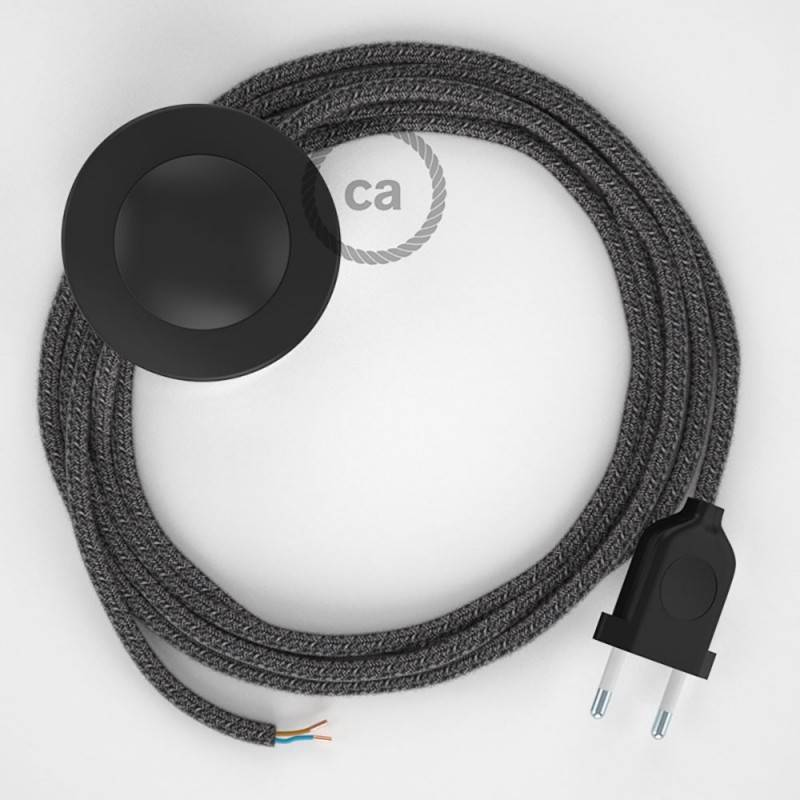 Wiring Pedestal, RS81 Black Cotton and Natural Linen 3 m. Choose the colour of the switch and plug.