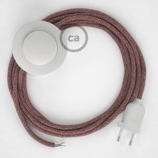 Wiring Pedestal, RS83 Red Cotton and Natural Linen 3 m. Choose the colour of the switch and plug.
