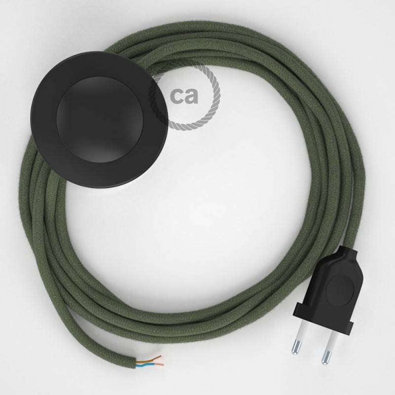 Wiring Pedestal, RC63 Green Grey Cotton 3 m. Choose the colour of the switch and plug.