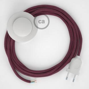 Wiring Pedestal, RC32 Burgundy Cotton 3 m. Choose the colour of the switch and plug.