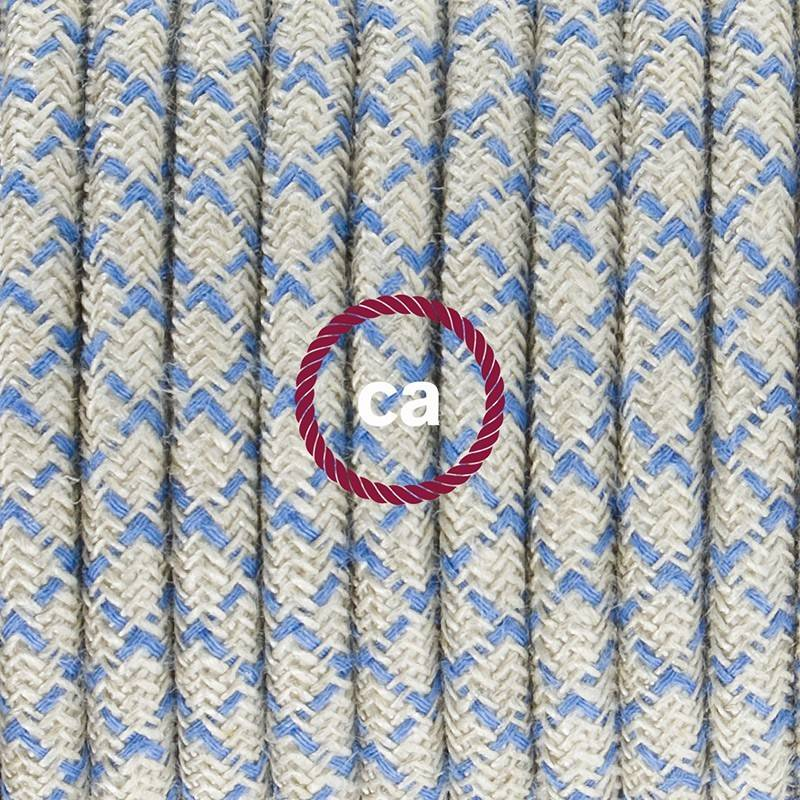 Wiring Pedestal, RD65 Blue Steward Diamond Cotton and Natural Linen 3 m.
