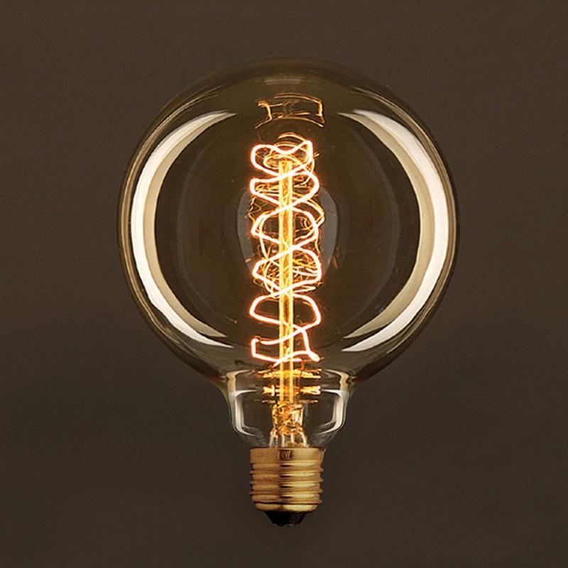 Golden Vintage Globe Light Bulb G125 Carbon Filament Spiral Curve 25W E27 Dimmable 2000K