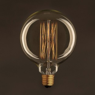 Golden Vintage Globe Light Bulb G125 Carbon Filament Cage 30W E27 Dimmable 2000K