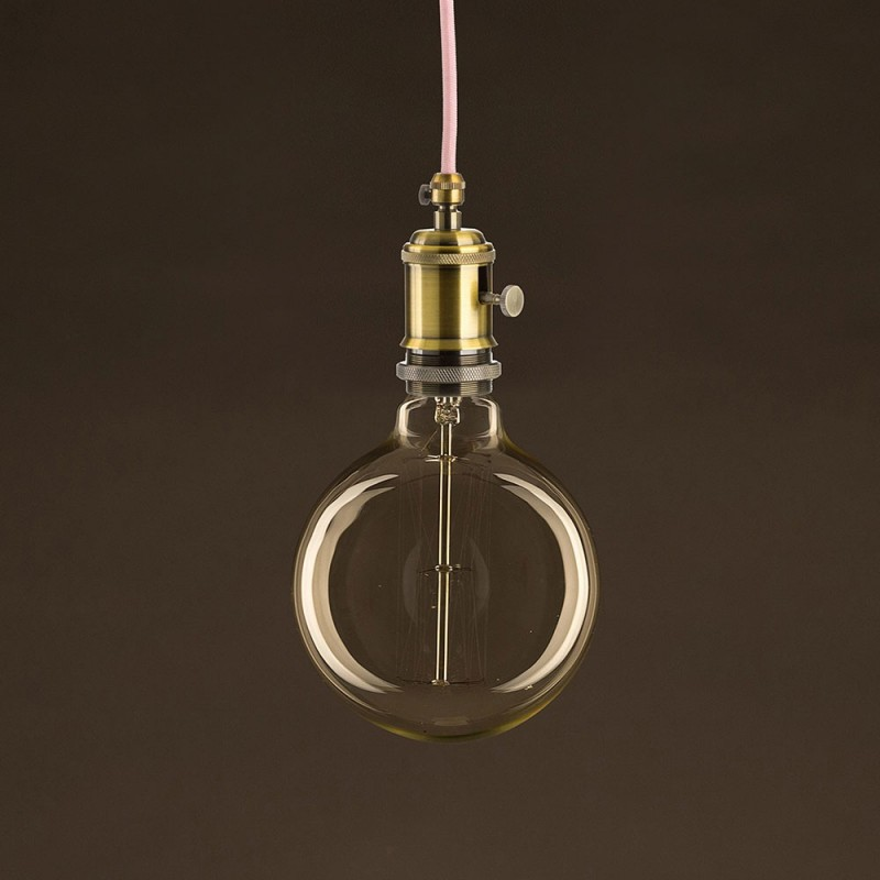 Golden Vintage Globe Light Bulb G125 Carbon Filament Cage 25W E27 Dimmable 2000K