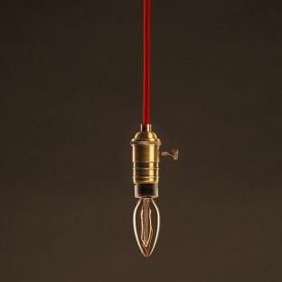 Vintage Golden Light Bulb Candle C35 Carbon Filament ZigZag 25W E14 Dimmable 2000K
