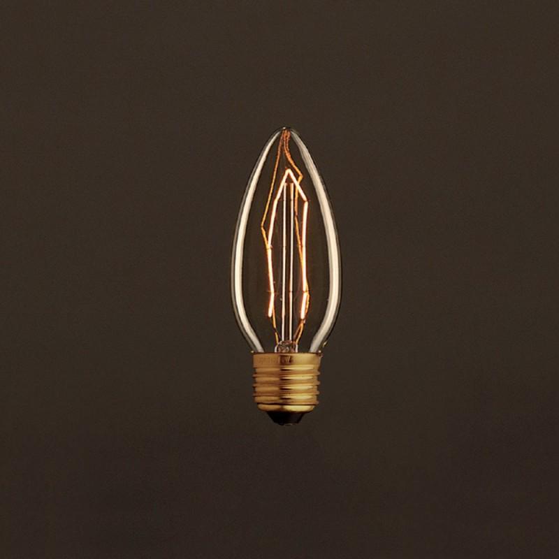 Vintage Golden Light Bulb Candle C35 Carbon Filament ZigZag 25W E27 Dimmable 2000K