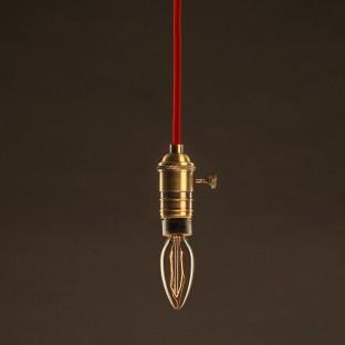 Vintage Golden Light Bulb Candle C35 Carbon Filament ZigZag 30W E27 Dimmable 2000K