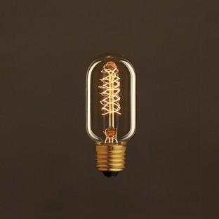 Vintage Golden Light Bulb Valve T45 Carbon Filament Double Spiral Curve 30W E27 Dimmable 2000K