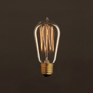 Vintage Golden Light Bulb Edison ST58 Carbon Filament Cage 25W E27 Dimmable 2000K
