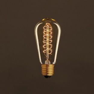 Vintage Golden Light Bulb Edison ST58 Carbon Filament Double Spiral Curve 25W E27 Dimmable 2000K