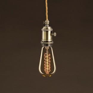 Vintage Golden Light Bulb Edison ST58 Carbon Filament Double Spiral Curve 30W E27 Dimmable 2000K
